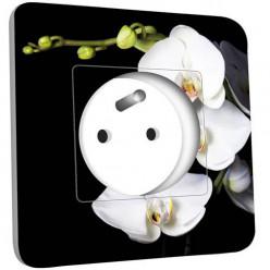 Prise décorée -  Orchidées Fond Noir