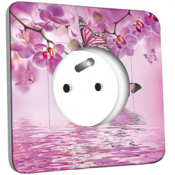 Prise décorée - Papillons Orchidées 10