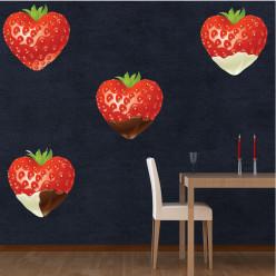Stickers 4 fraises chocolat