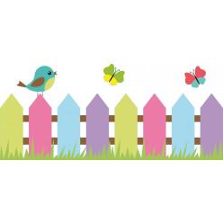 Stickers barrière oiseau papillons