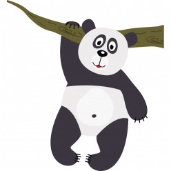 Stickers branche panda