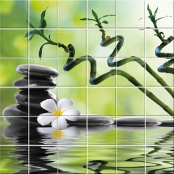Stickers carrelage fleur galet
