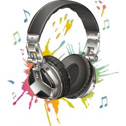 Stickers casque audio notes multicolore