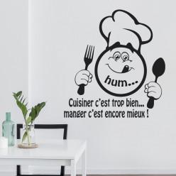 Stickers citation cuisiner c'est trop bien... manger c'est encore mieux !