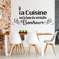 Stickers citation la cuisine est la base du véritable bonheur