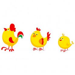 Stickers Coq Poule Poussin