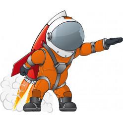 Stickers cosmonaute avec fusée sur le dos