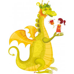 Stickers dragon et petite fille