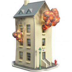 Stickers effet 3D- Bâtiment en feu