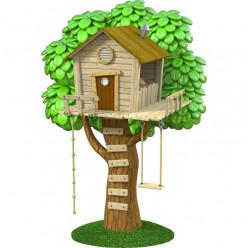Stickers effet 3D- Cabane sur l'arbre