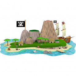 Stickers effet 3D- Ile pirate