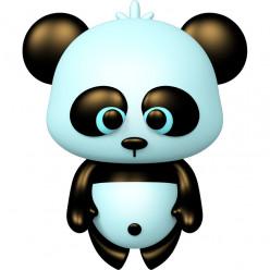 Stickers effet 3D- Panda bleu