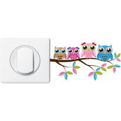 Stickers hiboux pour prise et interrupteur