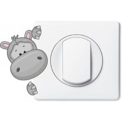 Stickers hippopotame pour prise et interrupteur
