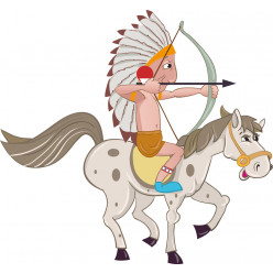 Stickers indien à cheval