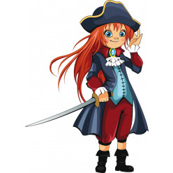 Stickers jeune fille pirate