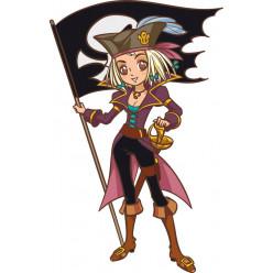 Stickers jeune fille pirate et drapeau