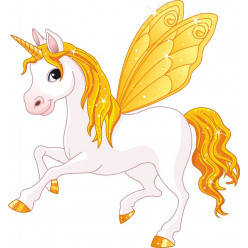 Stickers licorne ailes jaune