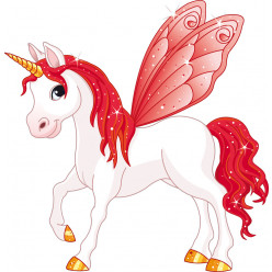 Stickers licorne ailes rouge
