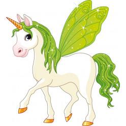 Stickers licorne ailes verte