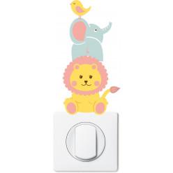 Stickers lion éléphant oiseau pour prise et interrupteur