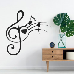 Stickers notes de musique coeur
