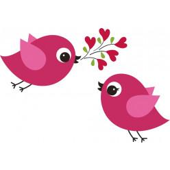 Stickers oiseaux amoureux