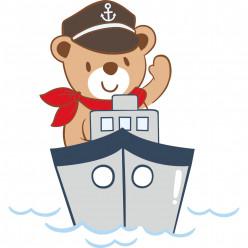 Stickers ourson bateau
