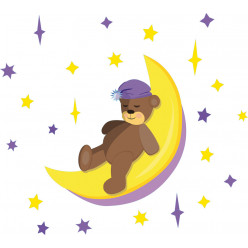 Stickers ourson lune