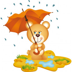 Stickers ourson parapluie