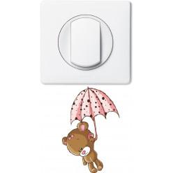 Stickers ourson parapluie pour prise et interrupteur