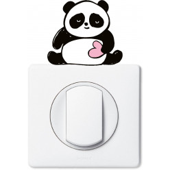 Stickers panda coeur pour prise et interrupteur