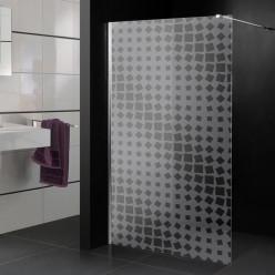 Stickers paroi de douche dépoli carrés design 2