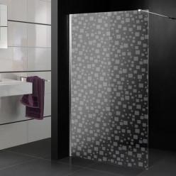 Stickers paroi de douche dépoli multicarrés 2