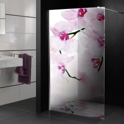 Stickers Paroi de douche semi translucide orchidée 2