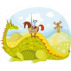 Stickers paysage chevalier et dragon