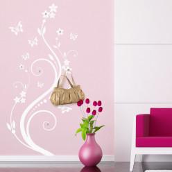 Stickers porte manteau fleur papillons