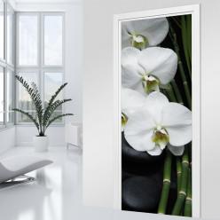 Stickers Porte - Orchidée blanche