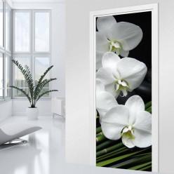 Stickers Porte - Orchidée blanche 2