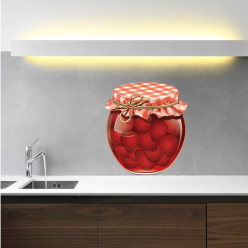 Stickers pot de confiture fraise
