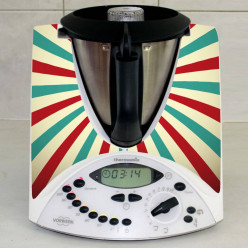 Stickers Thermomix TM 31 Rayé turquoise et rouge 2