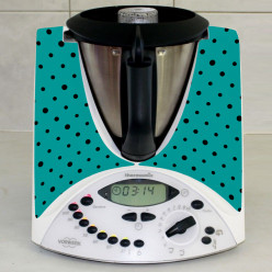 Stickers Thermomix TM 31 Turquoise a pois