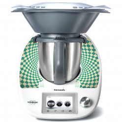 Stickers Thermomix TM 5 Damier turquoise
