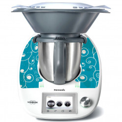 Stickers Thermomix TM 5 Liseret sur fond turquoise