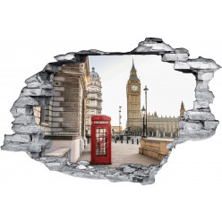 Stickers Trompe l'oeil 3D Cabine London