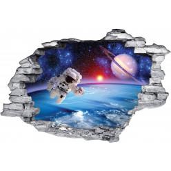 Stickers Trompe l'oeil 3D Cosmonaute