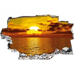Stickers Trompe l'oeil 3D - couché de soleil mer