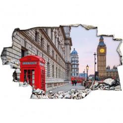 Stickers Trompe l'oeil 3D - Londres cabine 2