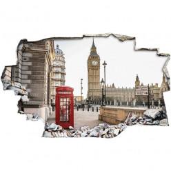 Stickers Trompe l'oeil 3D - Londres cabine