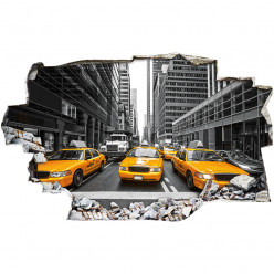 Stickers Trompe l'oeil 3D - New york taxi 3